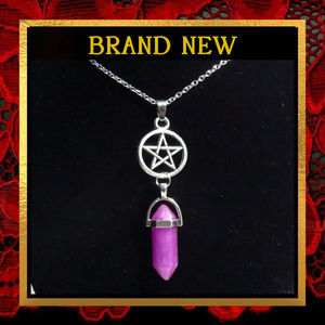 Purple Gemstone Pentacle Star Necklace  #154